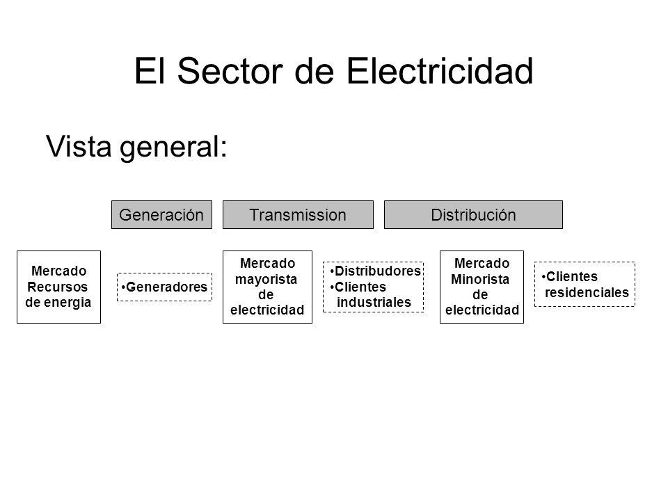 El Sector de Electricidad Mercado Recursos de energia Mercado mayorista de electricidad Mercado Minorista de electricidad Distribudores Clientes industriales Clientes residenciales Generadores GeneraciónTransmissionDistribución Vista general:
