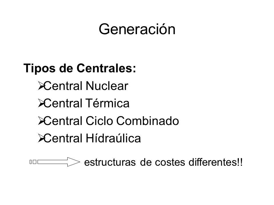 Generación Tipos de Centrales: Central Nuclear Central Térmica Central Ciclo Combinado Central Hídraúlica estructuras de costes differentes!!
