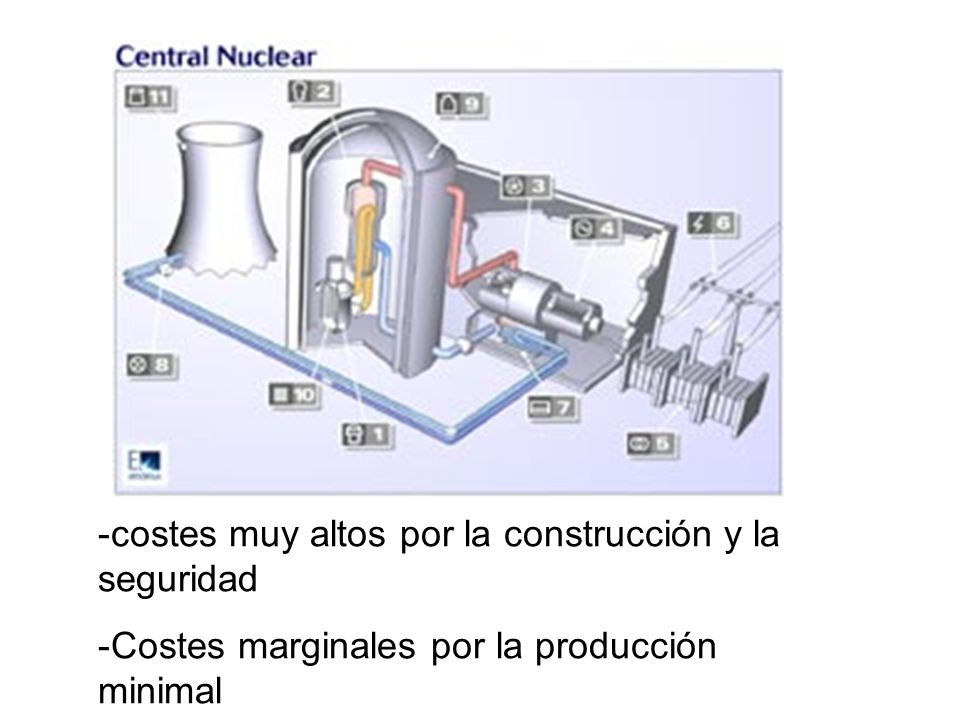 -costes muy altos por la construcción y la seguridad -Costes marginales por la producción minimal
