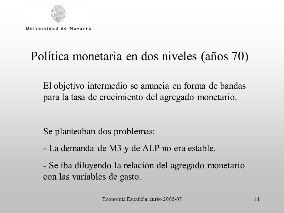 Economía Española, curso 2006-0711 Política monetaria en dos niveles (años 70) El objetivo intermedio se anuncia en forma de bandas para la tasa de cr
