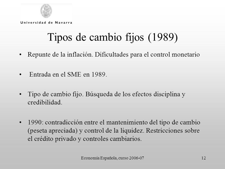 Economía Española, curso 2006-0712 Tipos de cambio fijos (1989) Repunte de la inflación. Dificultades para el control monetario Entrada en el SME en 1