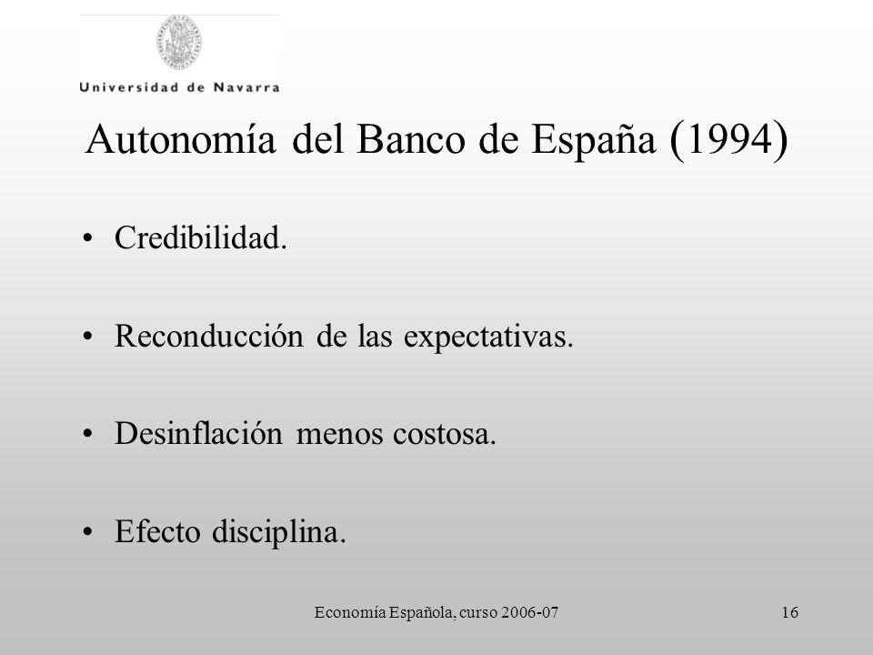Economía Española, curso 2006-0716 Autonomía del Banco de España ( 1994 ) Credibilidad. Reconducción de las expectativas. Desinflación menos costosa.