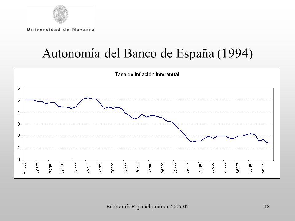 Economía Española, curso 2006-0718 Autonomía del Banco de España (1994)