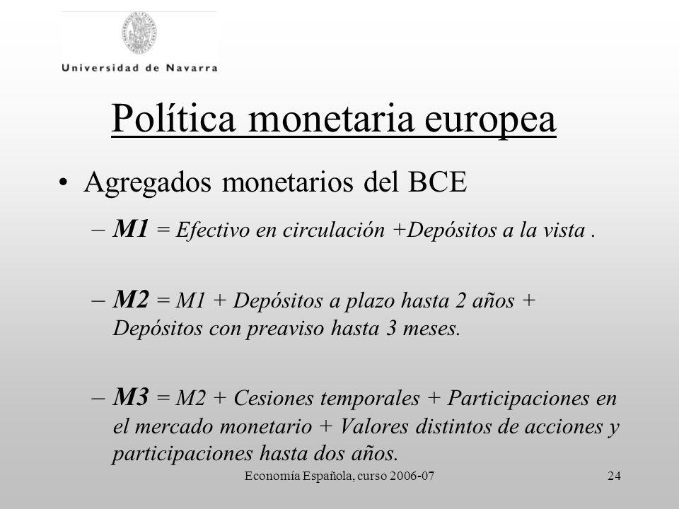 Economía Española, curso 2006-0724 Política monetaria europea Agregados monetarios del BCE –M1 = Efectivo en circulación +Depósitos a la vista. –M2 =