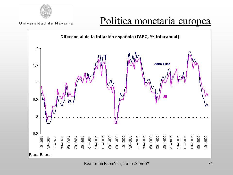 Economía Española, curso 2006-0731 Política monetaria europea