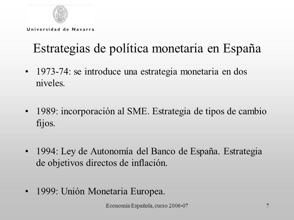 Economía Española, curso 2006-077 Estrategias de política monetaria en España 1973-74: se introduce una estrategia monetaria en dos niveles. 1989: inc