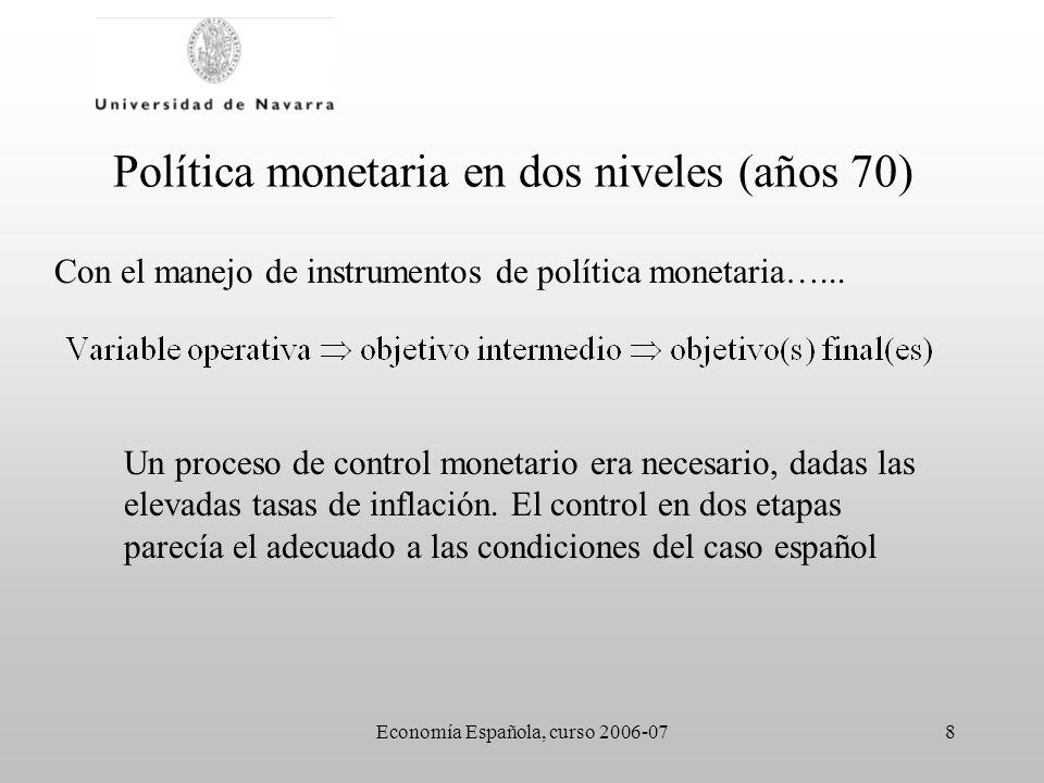 Economía Española, curso 2006-079 Política monetaria en dos niveles (años 70) Variable operativa –Activos líquidos –Tipos de interés (desde 1987?) Objetivo intermedio: control de la liquidez –M3 (hasta 1984) –ALP (hasta 1994)