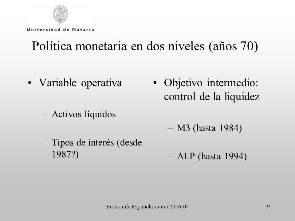 Economía Española, curso 2006-079 Política monetaria en dos niveles (años 70) Variable operativa –Activos líquidos –Tipos de interés (desde 1987?) Obj