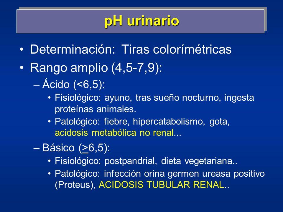 Densidad urinaria o gravedad específica Peso Vorina respecto al peso de igual Vagua 10001001-1035 Agua (arbitrario): 1000 y orina > en 0,8-1%: 1001-10