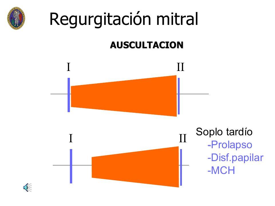 Regurgitación mitral n n Sintomas n disnea –progresión gradual –CDPN –dolor torácico atípico n n E.Física n Arritmia (fibrilación auricular) n Soplo h