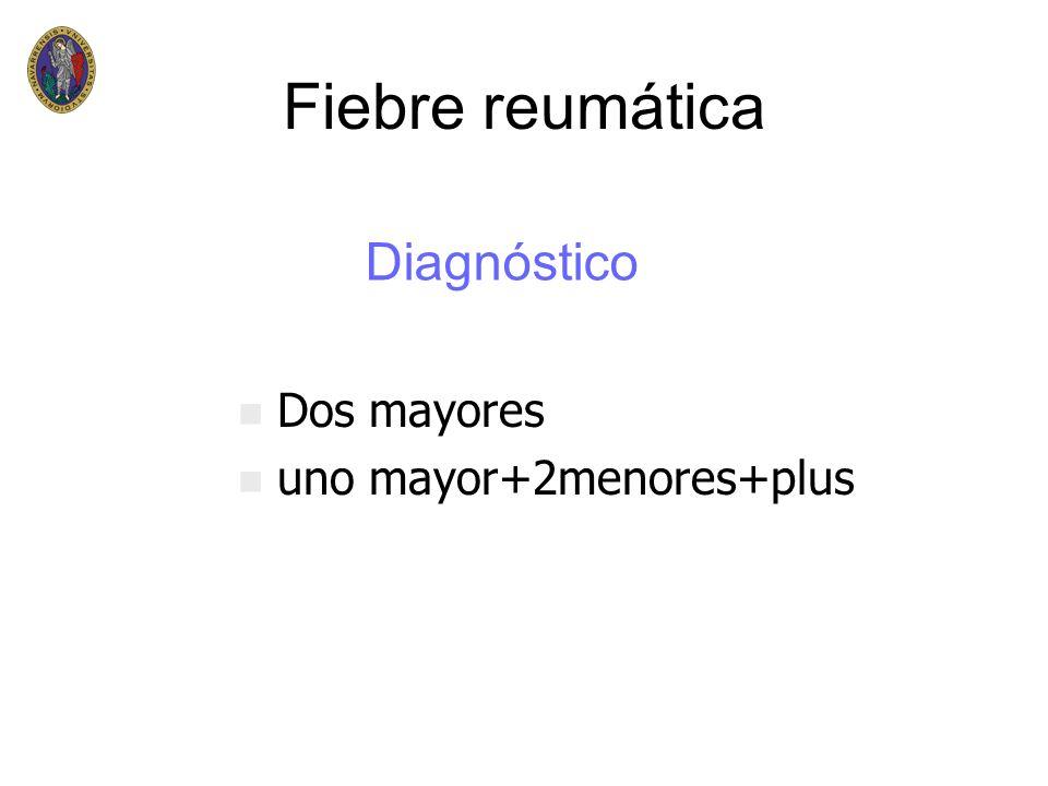 Fiebre reumática n n Dos mayores n n uno mayor+2menores+plus Diagnóstico