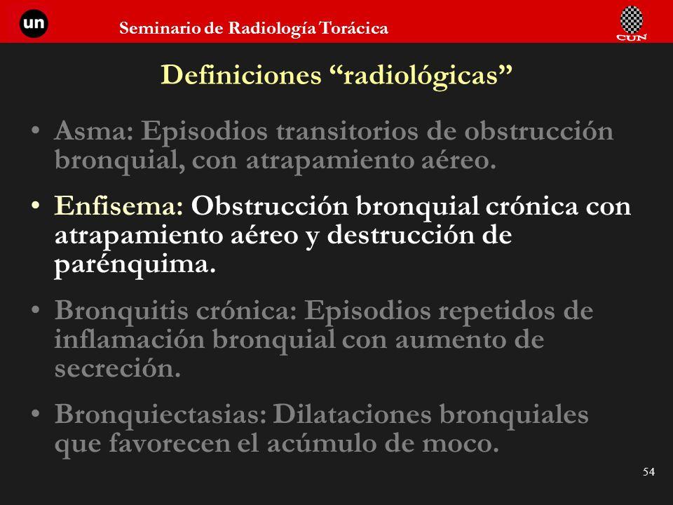 Seminario de Radiología Torácica 54 Definiciones radiológicas Asma: Episodios transitorios de obstrucción bronquial, con atrapamiento aéreo. Enfisema: