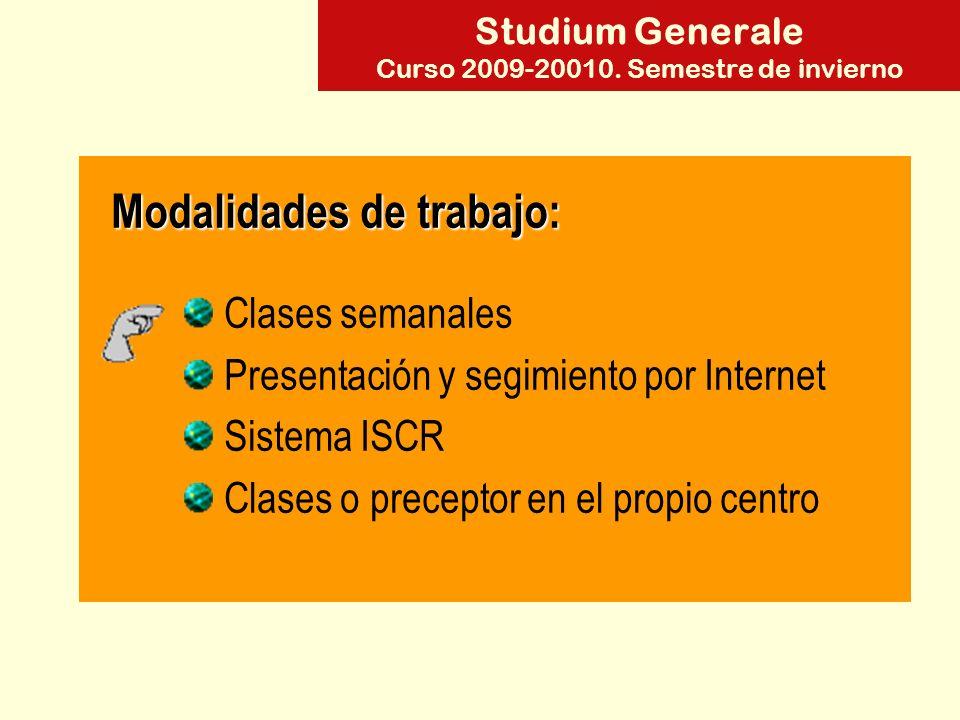 Studium Generale Curso 2009-20010.Semestre de invierno Clases semanales Mariología D.
