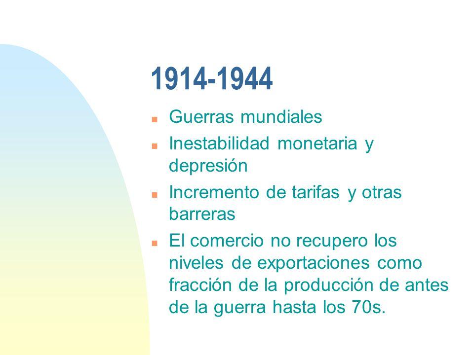 1914-1944 n Guerras mundiales n Inestabilidad monetaria y depresión n Incremento de tarifas y otras barreras n El comercio no recupero los niveles de