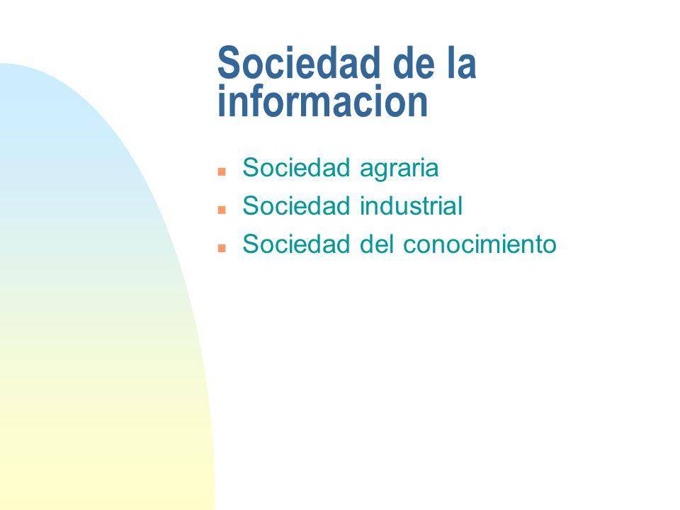 Sociedad de la informacion n Sociedad agraria n Sociedad industrial n Sociedad del conocimiento