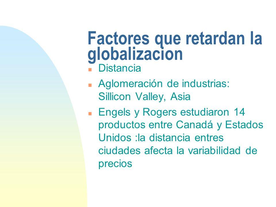 Factores que retardan la globalizacion n Distancia n Aglomeración de industrias: Sillicon Valley, Asia n Engels y Rogers estudiaron 14 productos entre