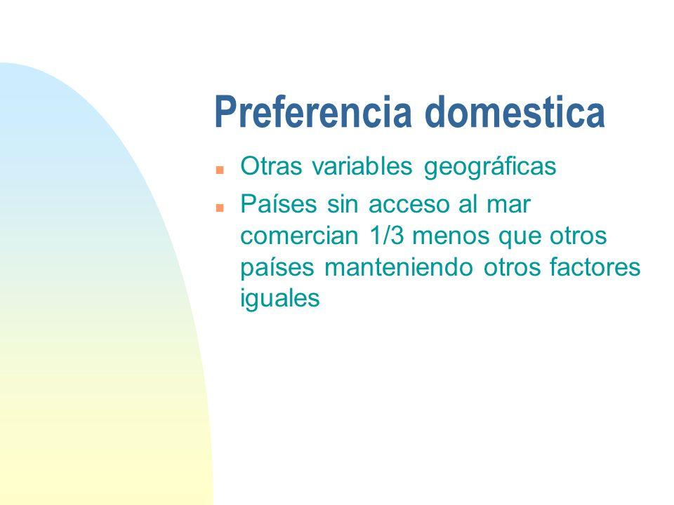 Preferencia domestica n Otras variables geográficas n Países sin acceso al mar comercian 1/3 menos que otros países manteniendo otros factores iguales