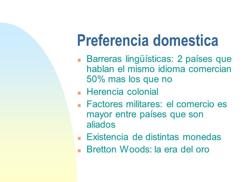 Preferencia domestica n Barreras lingüísticas: 2 países que hablan el mismo idioma comercian 50% mas los que no n Herencia colonial n Factores militar
