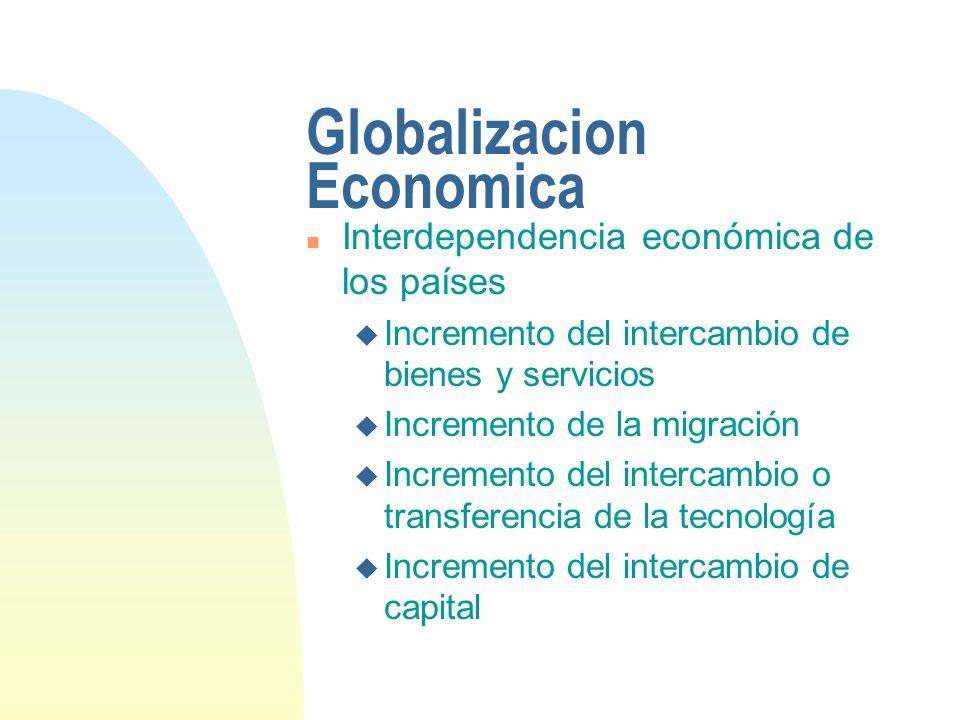 Globalización n Caracteristicas: n Mayor volumen y variedad de transacciones en bienes y servicios n Mayor intercambio de flujos de capital n Mayor y mas rápida difusión de la tecnología