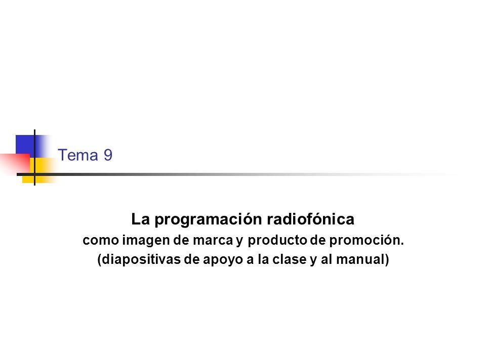 Tema 9 La programación radiofónica como imagen de marca y producto de promoción. (diapositivas de apoyo a la clase y al manual)