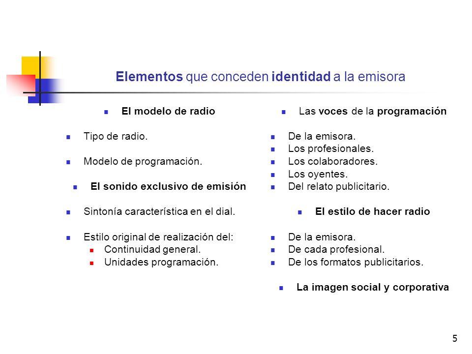 5 Elementos que conceden identidad a la emisora El modelo de radio Tipo de radio. Modelo de programación. El sonido exclusivo de emisión Sintonía cara