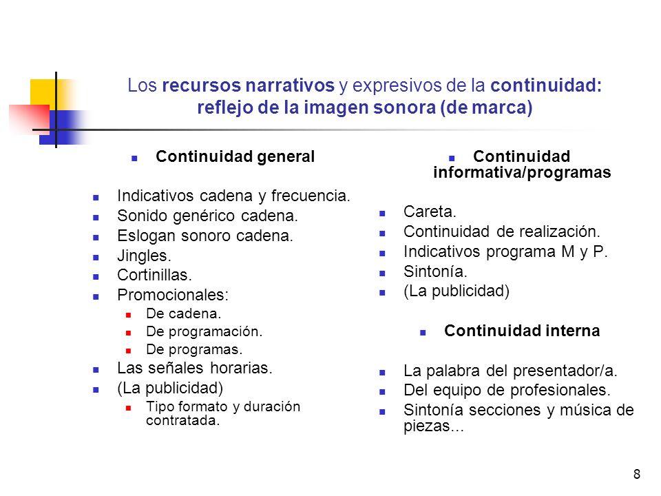 8 Los recursos narrativos y expresivos de la continuidad: reflejo de la imagen sonora (de marca) Continuidad general Indicativos cadena y frecuencia.