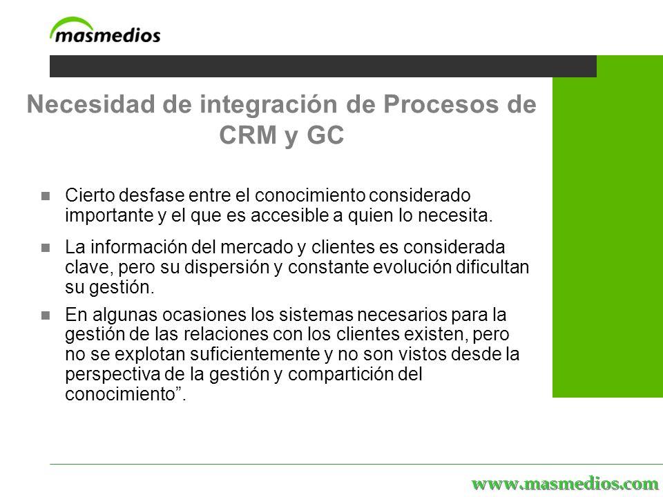 www.masmedios.com Cierto desfase entre el conocimiento considerado importante y el que es accesible a quien lo necesita.