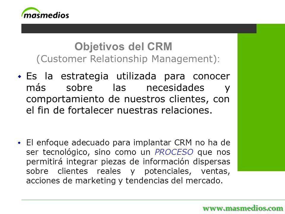 www.masmedios.com MASmedios | servicios | personal | proyectos | el portal Objetivos del CRM (Customer Relationship Management) : Es la estrategia utilizada para conocer más sobre las necesidades y comportamiento de nuestros clientes, con el fin de fortalecer nuestras relaciones.