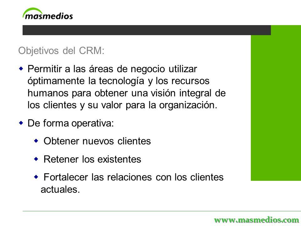 www.masmedios.com MASmedios | servicios | personal | proyectos | el portal Objetivos del CRM: Permitir a las áreas de negocio utilizar óptimamente la tecnología y los recursos humanos para obtener una visión integral de los clientes y su valor para la organización.
