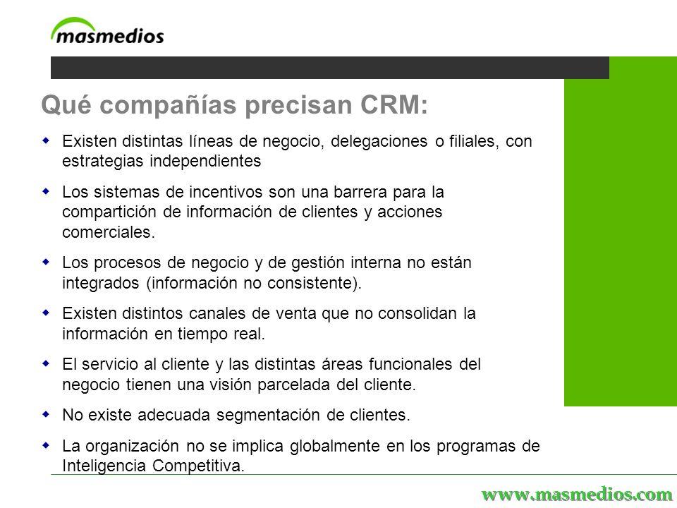 www.masmedios.com MASmedios | servicios | personal | proyectos | el portal Qué compañías precisan CRM: Existen distintas líneas de negocio, delegaciones o filiales, con estrategias independientes Los sistemas de incentivos son una barrera para la compartición de información de clientes y acciones comerciales.