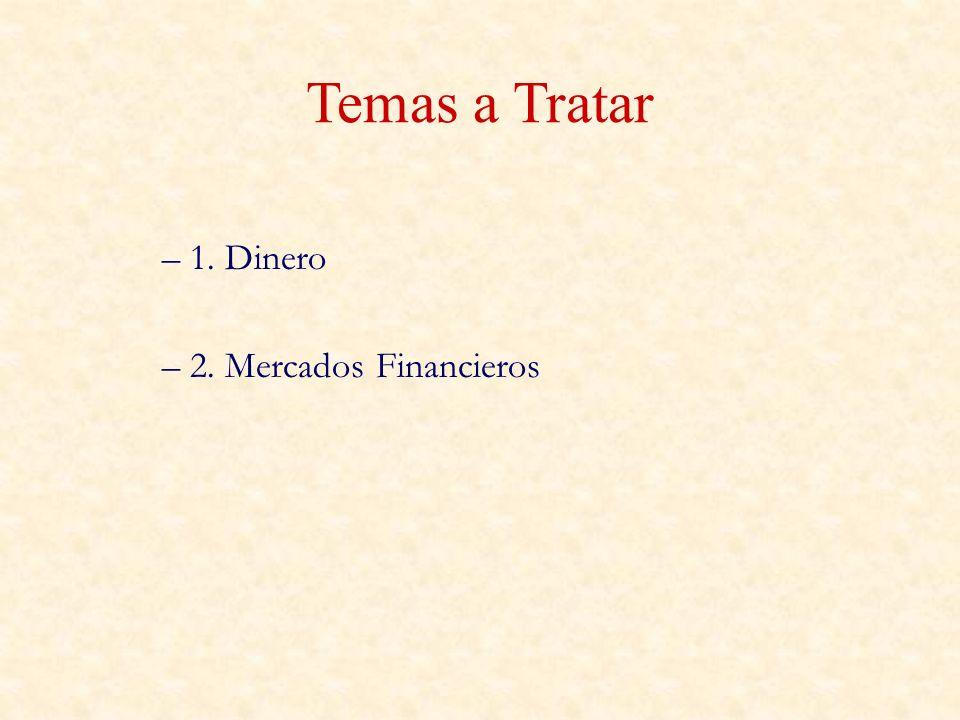 Temas a Tratar – 1. Dinero – 2. Mercados Financieros