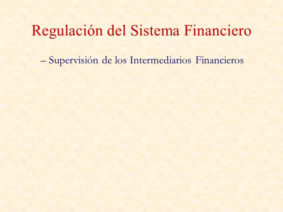 Regulación del Sistema Financiero – Supervisión de los Intermediarios Financieros
