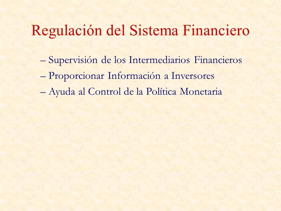 Regulación del Sistema Financiero – Supervisión de los Intermediarios Financieros – Proporcionar Información a Inversores – Ayuda al Control de la Pol
