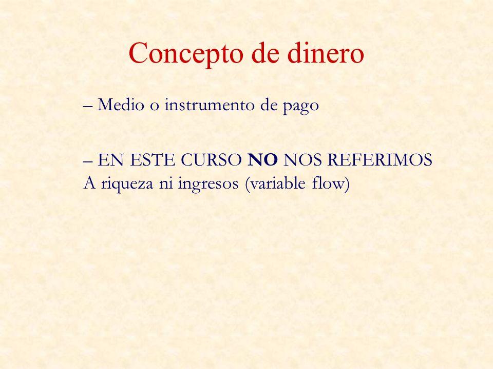 Concepto de dinero – Medio o instrumento de pago – EN ESTE CURSO NO NOS REFERIMOS A riqueza ni ingresos (variable flow)