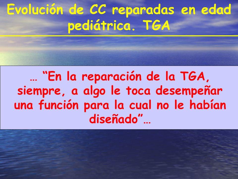 Evolución de CC reparadas en edad pediátrica. TGA … En la reparación de la TGA, siempre, a algo le toca desempeñar una función para la cual no le habí