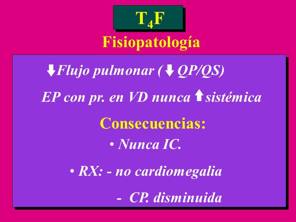Flujo pulmonar ( QP/QS) EP con pr. en VD nunca sistémica T4FT4F Fisiopatología Consecuencias: Nunca IC. RX: - no cardiomegalia - CP. disminuida