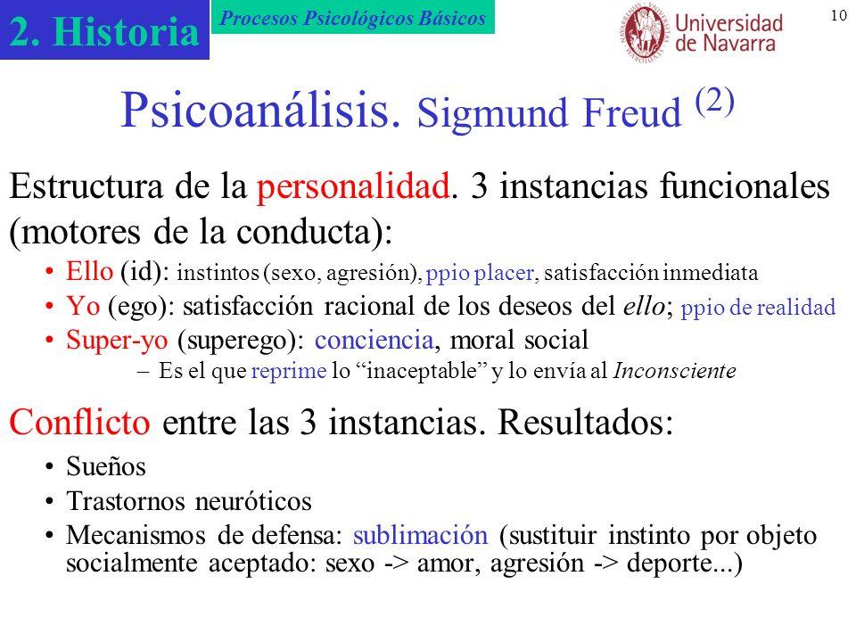 2. Historia Procesos Psicológicos Básicos 10 Psicoanálisis. Sigmund Freud (2) Estructura de la personalidad. 3 instancias funcionales (motores de la c