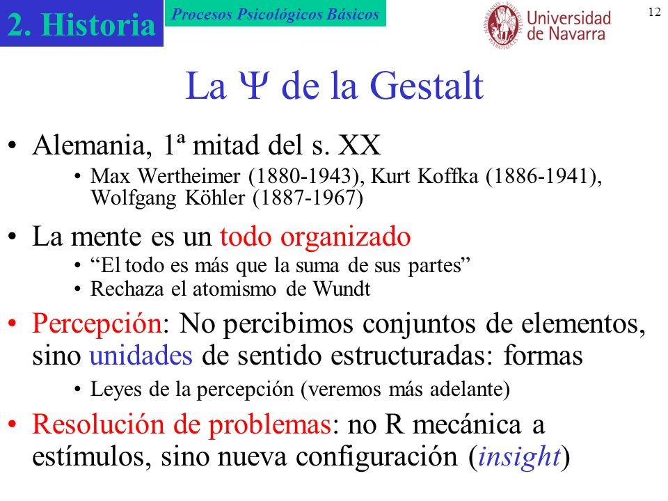 2. Historia Procesos Psicológicos Básicos 12 La de la Gestalt Alemania, 1ª mitad del s. XX Max Wertheimer (1880-1943), Kurt Koffka (1886-1941), Wolfga