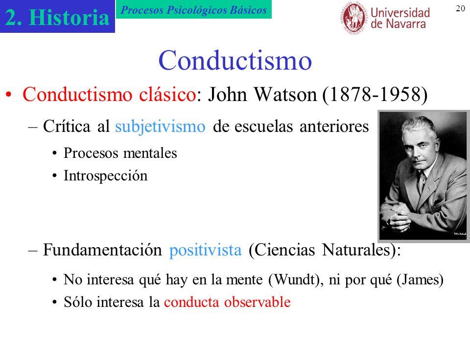 2. Historia Procesos Psicológicos Básicos 20 Conductismo Conductismo clásico: John Watson (1878-1958) –Crítica al subjetivismo de escuelas anteriores