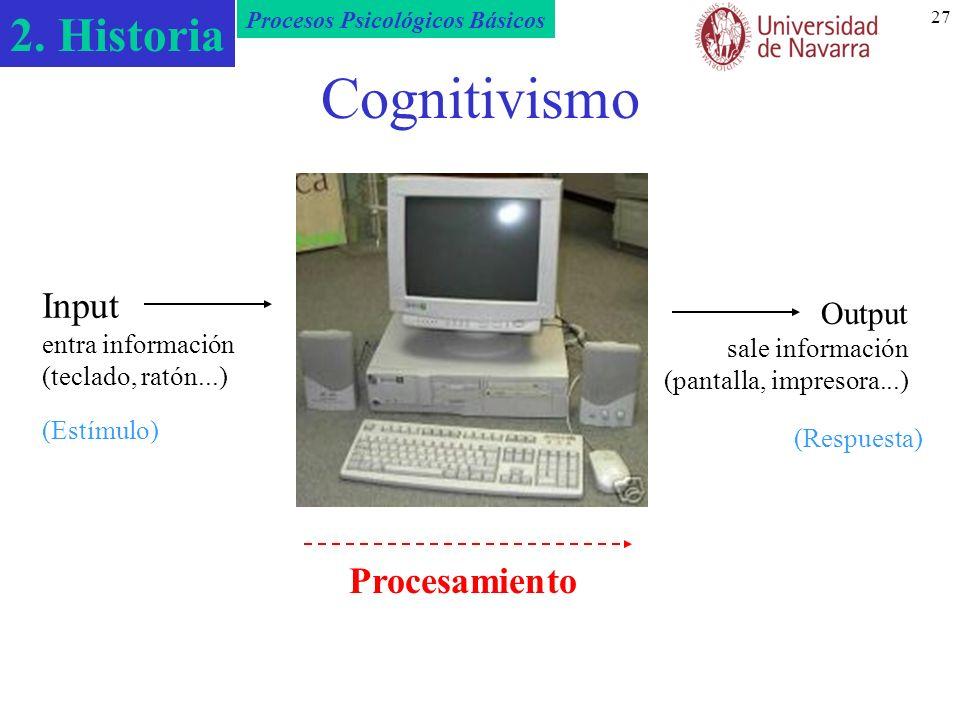 2. Historia Procesos Psicológicos Básicos 27 Cognitivismo Input entra información (teclado, ratón...) Procesamiento Output sale información (pantalla,