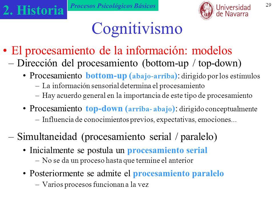 2. Historia Procesos Psicológicos Básicos 29 Cognitivismo –Dirección del procesamiento (bottom-up / top-down) Procesamiento bottom-up ( abajo-arriba )