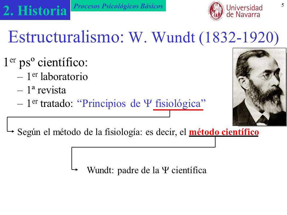 2. Historia Procesos Psicológicos Básicos 5 Estructuralismo: W. Wundt (1832-1920) 1 er psº científico: –1 er laboratorio –1ª revista –1 er tratado: Pr