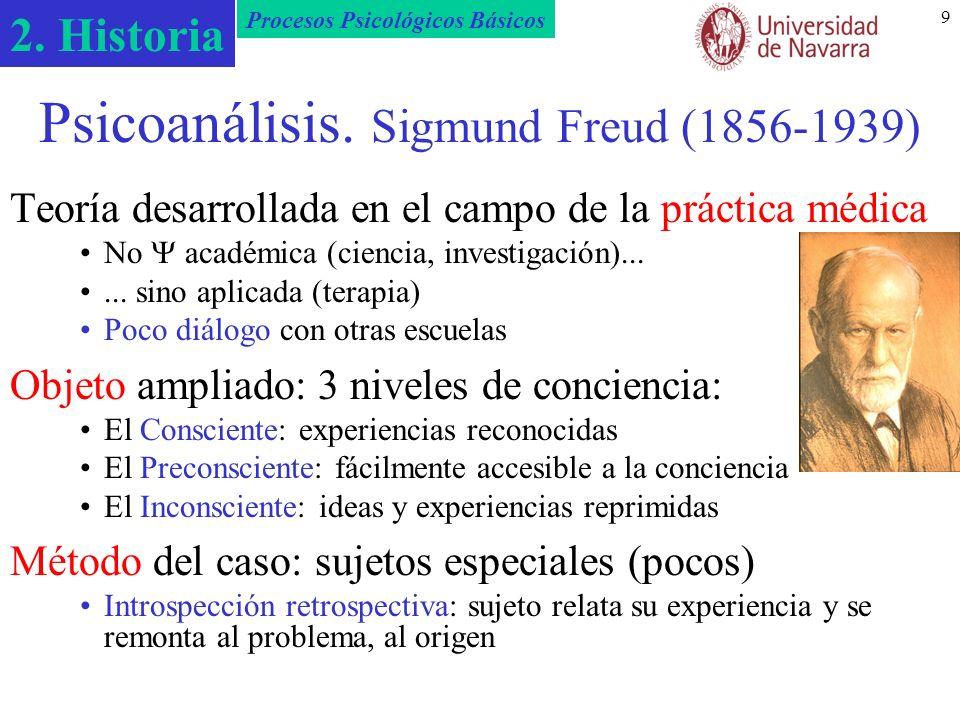 2. Historia Procesos Psicológicos Básicos 9 Psicoanálisis. Sigmund Freud (1856-1939) Teoría desarrollada en el campo de la práctica médica No académic