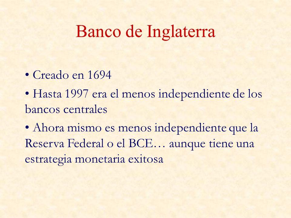 Banco de Inglaterra Creado en 1694 Hasta 1997 era el menos independiente de los bancos centrales Ahora mismo es menos independiente que la Reserva Federal o el BCE… aunque tiene una estrategia monetaria exitosa