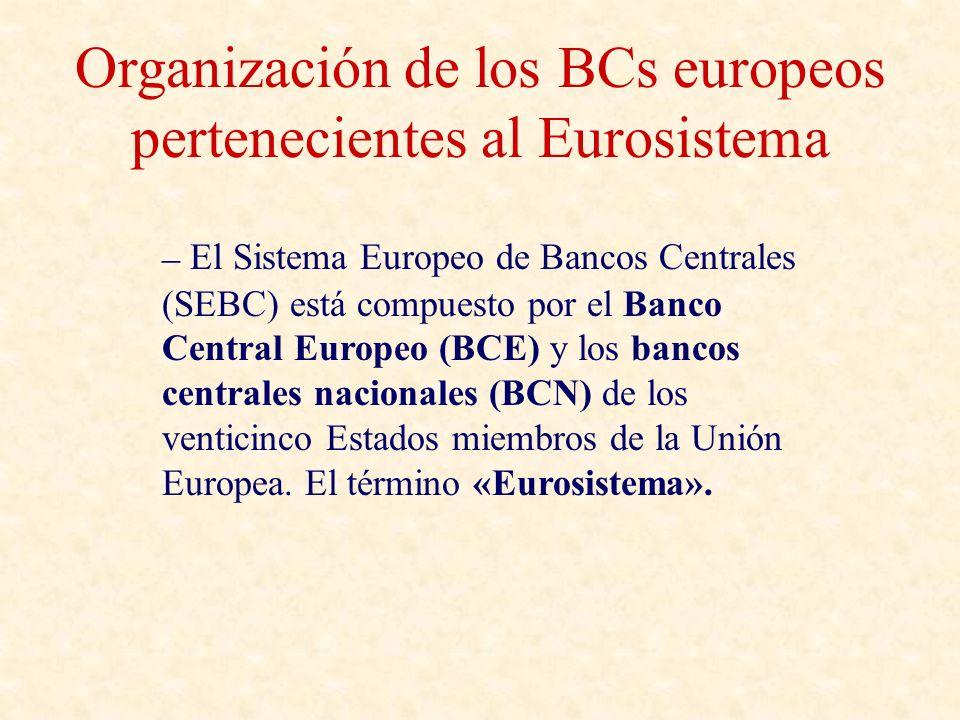 Organización de los BCs europeos pertenecientes al Eurosistema – El Sistema Europeo de Bancos Centrales (SEBC) está compuesto por el Banco Central Europeo (BCE) y los bancos centrales nacionales (BCN) de los venticinco Estados miembros de la Unión Europea.