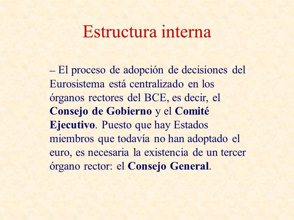 Estructura interna – El proceso de adopción de decisiones del Eurosistema está centralizado en los órganos rectores del BCE, es decir, el Consejo de Gobierno y el Comité Ejecutivo.