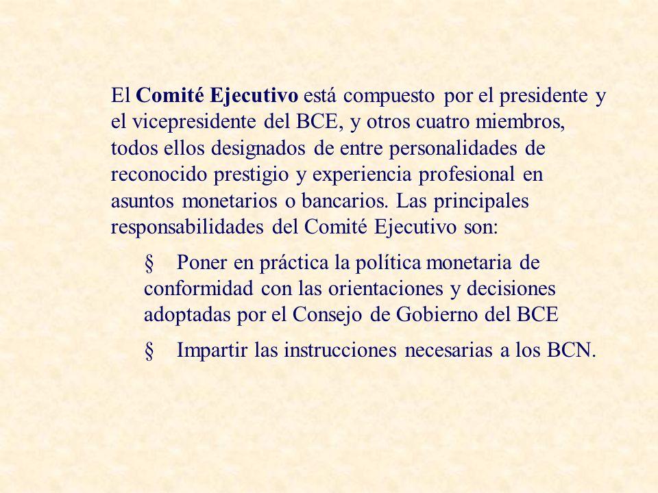 El Comité Ejecutivo está compuesto por el presidente y el vicepresidente del BCE, y otros cuatro miembros, todos ellos designados de entre personalidades de reconocido prestigio y experiencia profesional en asuntos monetarios o bancarios.