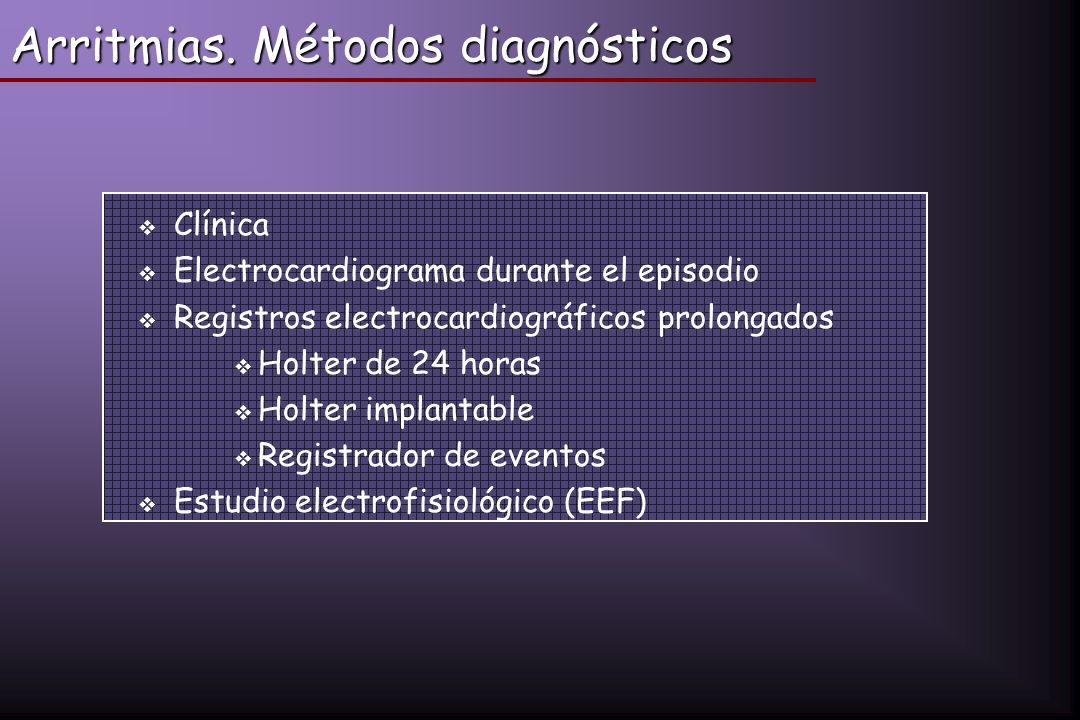 Arritmias. Métodos diagnósticos Clínica Electrocardiograma durante el episodio Registros electrocardiográficos prolongados Holter de 24 horas Holter i