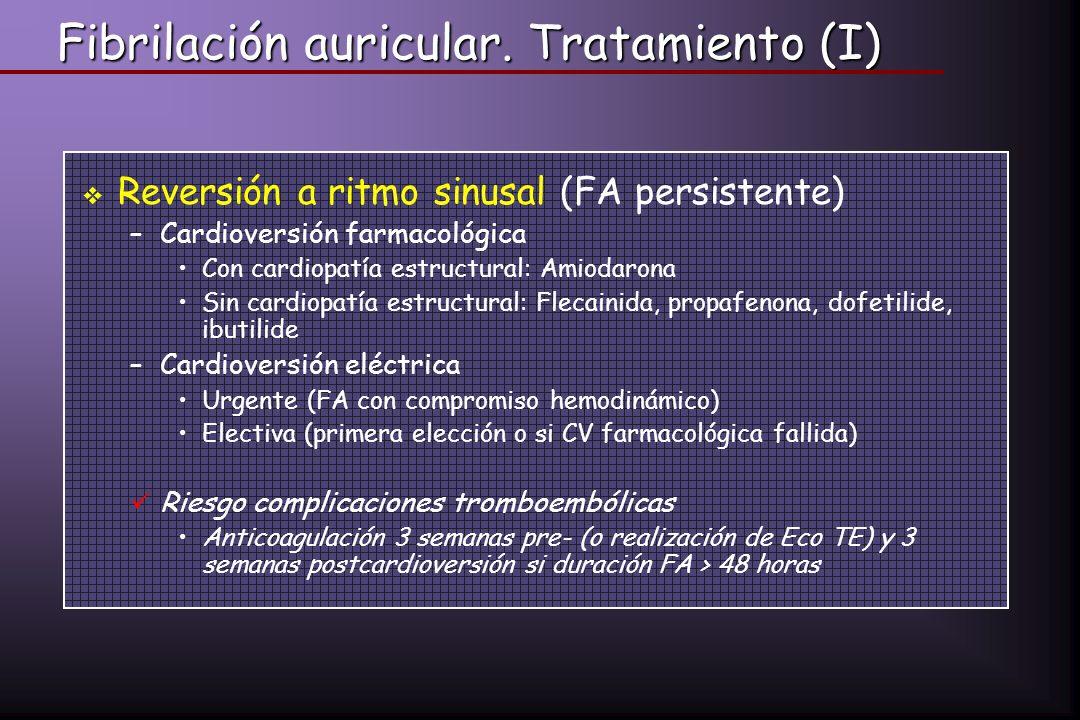 Fibrilación auricular. Tratamiento (I) Reversión a ritmo sinusal (FA persistente) –Cardioversión farmacológica Con cardiopatía estructural: Amiodarona