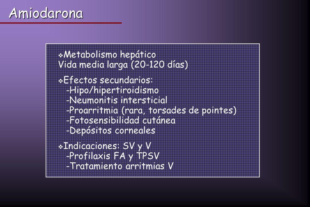 Metabolismo hepático Vida media larga (20-120 días) Efectos secundarios: -Hipo/hipertiroidismo -Neumonitis intersticial -Proarritmia (rara, torsades d